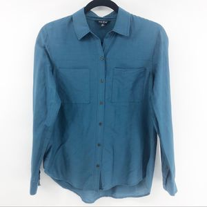 Lucky Brand Blue Button Down Collared Blouse